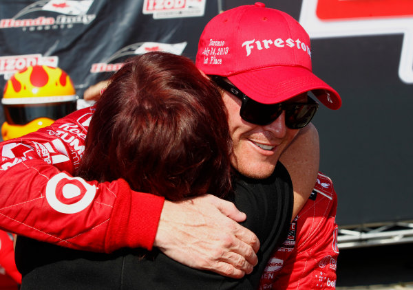 14 July, 2013,  Toronto, Ontario, CAN Scott Dixon is congratulated by his mother Glynnis ©2013, Phillip Abbott LAT Photo USA