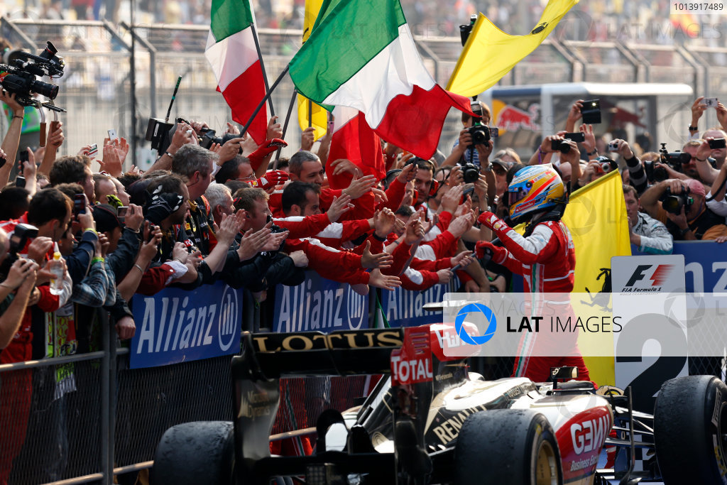 Shanghai International Circuit, Shanghai, China Sunday 14th April 2013 Fernando Alonso, Ferrari, 1st position, celebrate victory on arrival in Parc Ferme. World Copyright: Alastair Staley/LAT Photographic ref: Digital Image _R6T2349