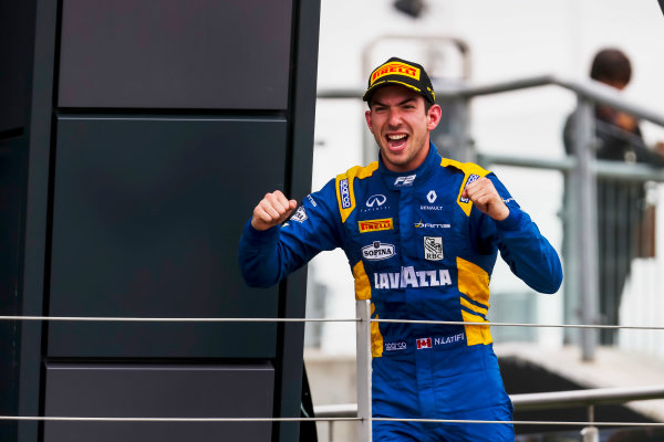 2017 FIA Formula 2 Round 6. Silverstone, Northamptonshire, UK. Sunday 16 July 2017. Nicholas Latifi (CAN, DAMS).  Photo: JEP/FIA Formula 2. ref: Digital Image AX7K2162