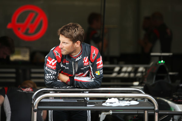 Red Bull Ring, Spielberg, Austria. Thursday 6 July 2017. Romain Grosjean, Haas F1, in the team's garage. World Copyright: Charles Coates/LAT Images ref: Digital Image DJ5R8883