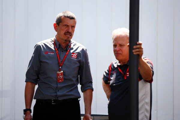 Circuit Gilles Villeneuve, Montreal, Canada. Sunday 11 June 2017. Guenther Steiner, Team Principal, Haas F1, and Gene Haas, Owner and Founder, Haas F1.  World Copyright: Andy Hone/LAT Images ref: Digital Image _ONY5483