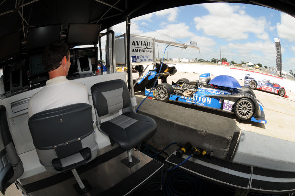 12-17 March 2012, Sebring, Florida, USAButch Leitzinger (l) watches teammate Rudy Junco during practice.(c)2012, Paul WebbLAT Photo USA