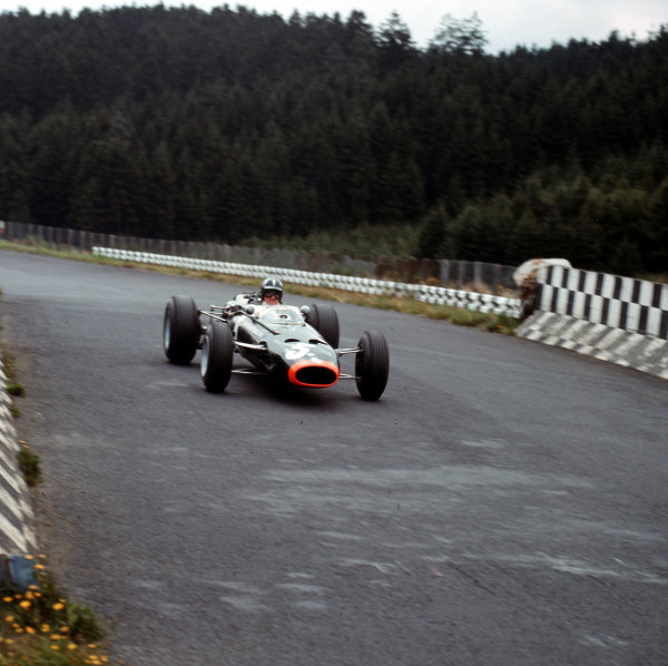 Nurburgring, Germany.5-7 August 1966.Graham Hill (BRM P261) 4th position.Ref-3/2314A.World Copyright - LAT Photographic