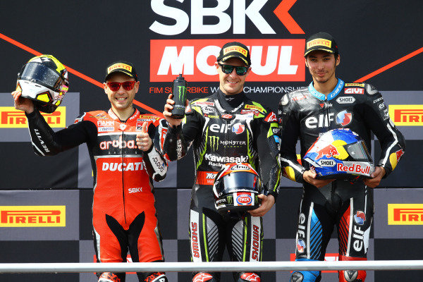 Podium: second place Alvaro Bautista, Aruba.it Racing-Ducati Team, Race winner Jonathan Rea, Kawasaki Racing Team, third place Toprak Razgatlioglu, Turkish Puccetti Racing.