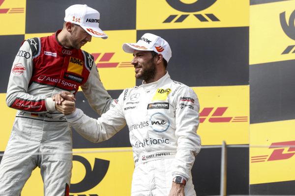 Podium: Race winner René Rast, Audi Sport Team Rosberg and third place Gary Paffett, Mercedes-AMG Team HWA.