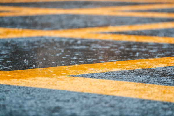 Rain falls in Monza.