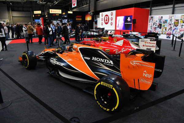 McLaren MCL32 show car on the F1 Racing stand at Autosport International, Day One, NEC, Birmingham, England, Thursday 11 January 2018.