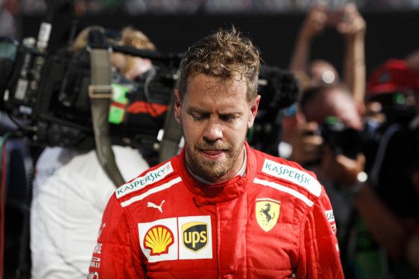 Sebastian Vettel, Ferrari in Parc Ferme.