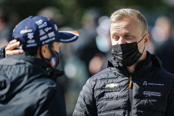 #7: Felix Rosenqvist, Arrow McLaren SP Chevrolet and #30: Takuma Sato, Rahal Letterman Lanigan Racing Honda at the driver's meeting