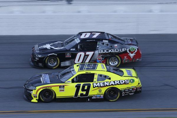 #19: Brandon Jones, Joe Gibbs Racing, Toyota Supra Menards/Barracuda Pumps, #07: Joe Graf Jr, SS Green Light Racing, Chevrolet Camaro Bucked Up Energy