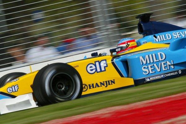 Fernando Alonso (ESP) Renault R23.  Formula One World Championship, Rd1, Australian Grand Prix, Albert Park, Melbourne, Australia, 7 March 2003. DIGITAL IMAGE