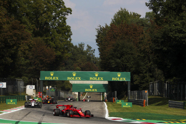 Charles Leclerc, Ferrari SF1000, leads Antonio Giovinazzi, Alfa Romeo Racing C39, and Alexander Albon, Red Bull Racing RB16