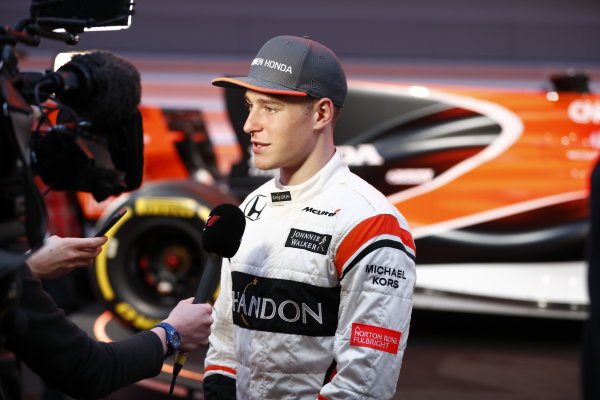 McLaren MCL32 Honda Formula 1 Launch. McLaren Technology Centre, Woking, UK. Friday 24 February 2017. Stoffel Vandoorne, McLaren, is interviewed by the media. World Copyright: Glenn Dunbar/LAT Images Ref: _X4I9436