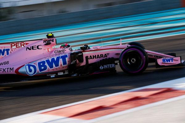Yas Marina Circuit, Abu Dhabi, United Arab Emirates. Wednesday 29 November 2017. Sergio Perez, Force India VJM10 Mercedes.  World Copyright: Zak Mauger/LAT Images  ref: Digital Image _O3I2041