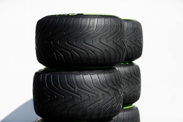 Autodromo Hermanos Rodriguez, Mexico City, Mexico. Thursday 26 October 2017. Pirelli tyres in the paddock. World Copyright: Zak Mauger/LAT Images  ref: Digital Image _31I5791