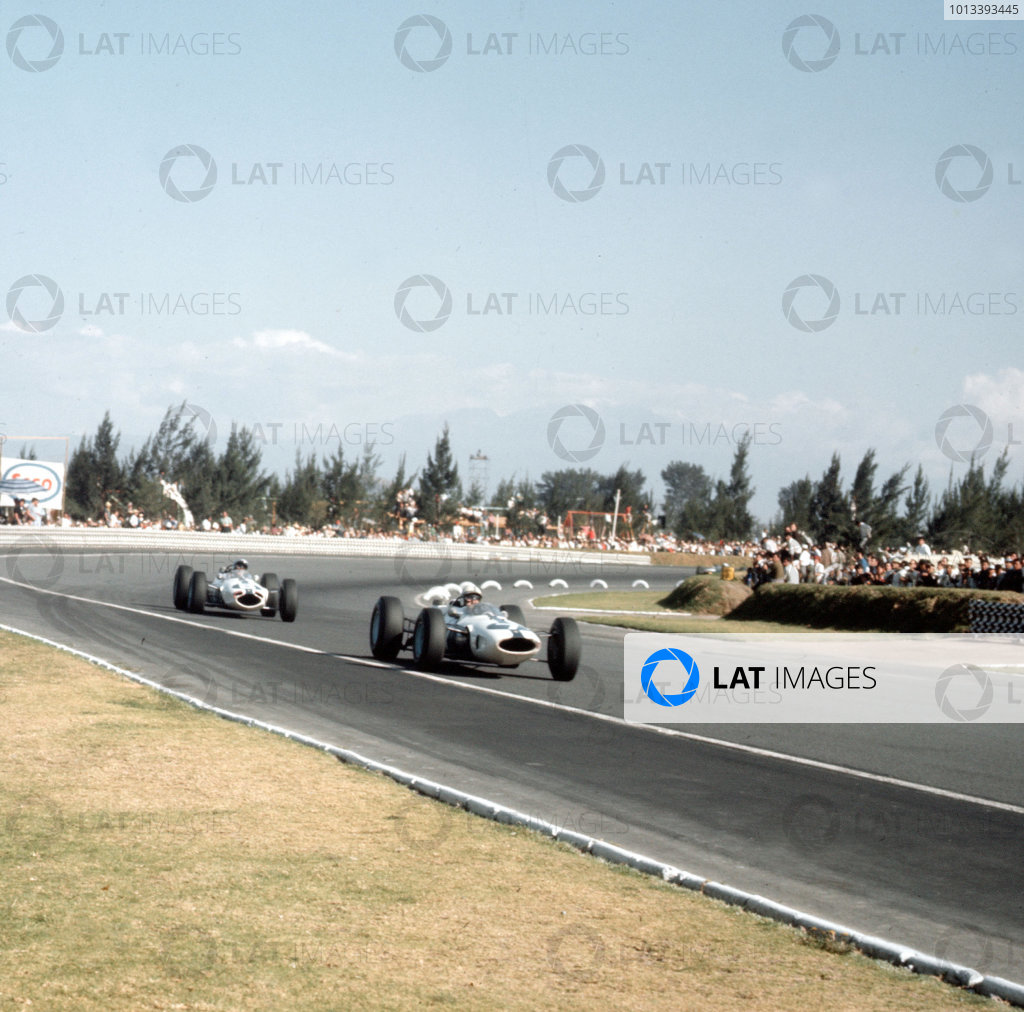 Mexico City, Mexico.23-25 October 1964.John Surtees leads Lorenzo Bandini (both NART Ferrari 158). They finished in 2nd and 3rd positions respectively.Ref-3/1534.World Copyright - LAT Photographic