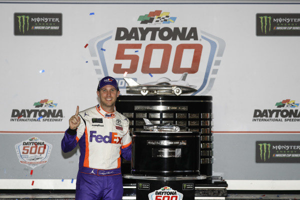 Winner #11: Denny Hamlin, Joe Gibbs Racing, Toyota Camry FedEx Express in victory lane