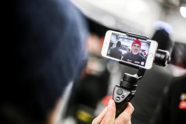 Jari-Matti Latvala (FIN), Toyota Gazoo Racing WRC on a camera phone at World Rally Championship, Rd2, Rally Sweden, Day Three, Karlstad, Sweden, 12 February 2017.