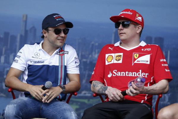 Felipe Massa (BRA) Williams and Kimi Raikkonen (FIN) Ferrari at Formula One World Championship, Rd1, Australian Grand Prix, Qualifying, Albert Park, Melbourne, Australia, Saturday 25 March 2017.