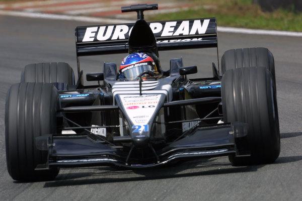 2001 Brazilian Grand Prix.Interlagos, Sao Paulo, Brazil. 30/3-1/4 2001.Fernando Alonso (Minardi PS01 European).World Copyright - LAT Photographicref: 8 9 MB Digital