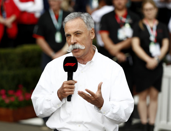 Chase Carey, Chairman, Formula 1 talks to the press
