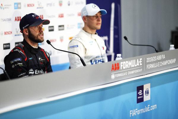 Sam Bird (GBR), Envision Virgin Racing, Audi e-tron FE06, and Stoffel Vandoorne (BEL), Mercedes Benz EQ Formula, EQ Silver Arrow 01, in the press conference