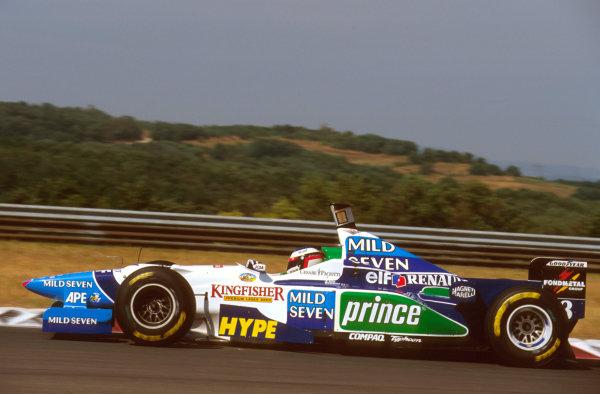 Hungaroring, Budapest, Hungary.9-11 August 1996.Jean Alesi (Benetton B196 Renault) 3rd position.Ref-96 HUN 15.World Copyright - LAT Photographic
