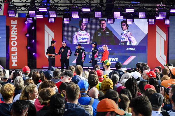 Mark Webber, Otmar Szafnauer, Chief Operating Officer, Racing Point, Sergio Perez, Racing Point, Lance Stroll, Racing Point at the Federation Square event.