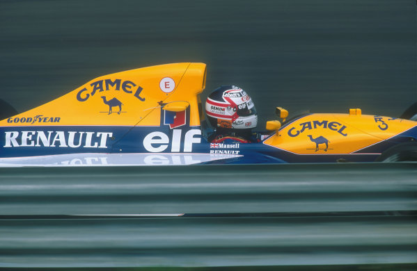 1991 Hungarian Grand Prix.Hungaroring, Budapest, Hungary.9-11 August 1991.Nigel Mansell (Williams FW14 Renault) 2nd position.Ref-91 HUN 06.World Copyright - LAT Photographic
