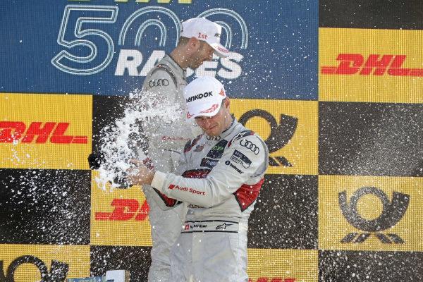 Podium: Race winner René Rast, Audi Sport Team Rosberg, second place Nico Müller, Audi Sport Team Abt Sportsline