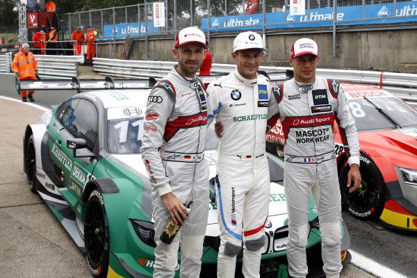 Top 3 after Qualifying, Pole sitter Marco Wittmann, BMW Team RMG, René Rast, Audi Sport Team Rosberg, Loic Duval, Audi Sport Team Phoenix .