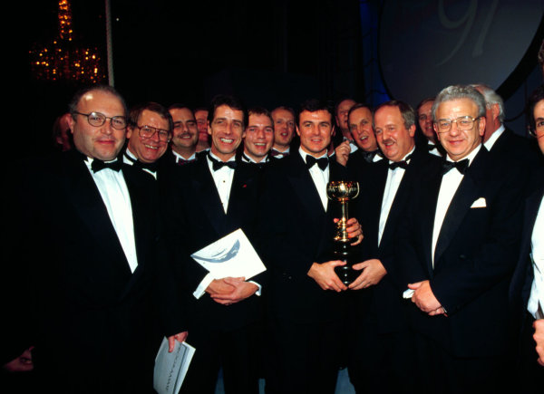 1997 Autosport Awards, Grosvenor House Hotel, Park Lane, London, Great Britain.7 December 1997.Mark Blundell receives his Ferodo Trophy award for British competition driver of the year as voted by the readers of Autosport Magazine.World - LAT Photographic