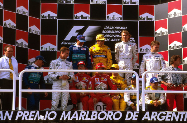 Buenos Aires, Argentina.11-13 April 1997.Some of the Formula One World Championship contenders gather together on the podium.Ref-97 ARG 03.World Copyright - LAT Photographic