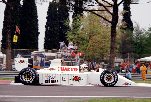 1987 San Marino Grand Prix.Imola, Italy.1-3 May 1987.Pascal Fabre (AGS JH22 Ford) 13th position.Ref-87 SM 23.World Copyright - LAT Photographic