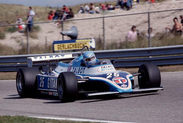 1981 Dutch Grand Prix.Zandvoort, Holland.28-30 August 1981.Patrick Tambay (Ligier JS17 Matra).Ref-81 HOL 40.World Copyright - LAT Photographic