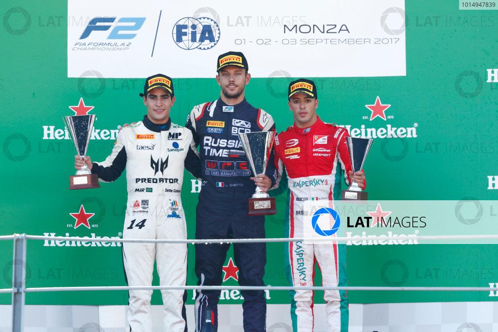 Autodromo Nazionale di Monza, Italy. Sunday 3 September 2017 Luca Ghiotto (ITA, RUSSIAN TIME). Sergio Sette Camara (BRA, MP Motorsport). Antonio Fuoco (ITA, PREMA Racing).  Photo: Mauger/FIA Formula 2 ref: Digital Image _W6I4979