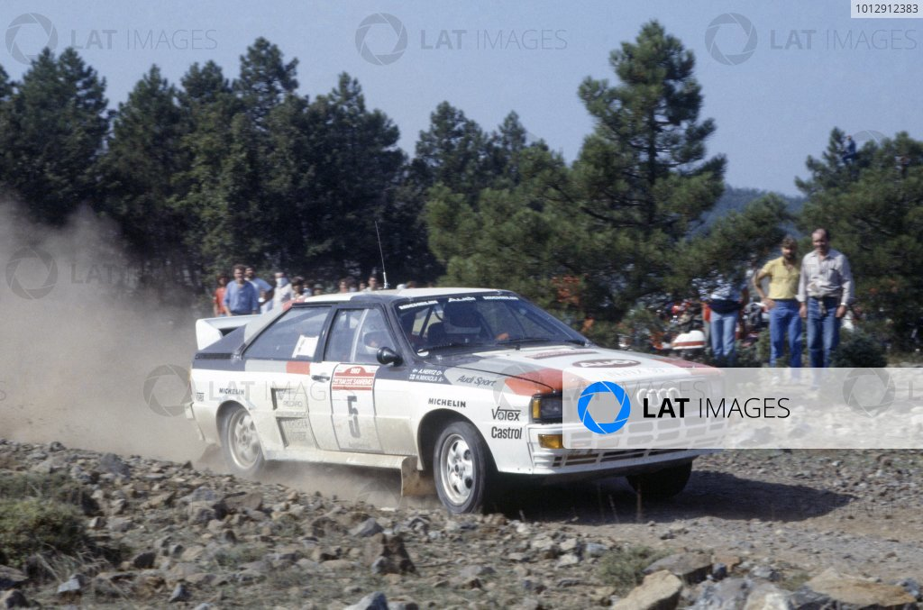 1983 World Rally Championship. San Remo Rally, Italy. 2-8 October 1983. Hannu Mikkola/Arne Hertz (Audi Quattro A2), retired. World Copyright: LAT Photographic Ref: 35mm transparency 83RALLY16