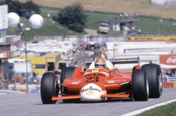 1980 Austrian Grand Prix.Osterreichring, Austria. 15-17 August 1980.Bruno Giacomelli (Alfa Romeo 179B), retired.World Copyright: LAT PhotographicRef: 35mm transparency 80AUT21