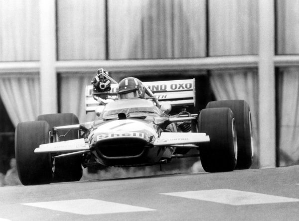 1970 Monaco Grand Prix.Monte Carlo, Monaco. 7-10 May 1970.Graham Hill (Lotus 49C-Ford Cosworth) with an early on-board television camera. TV.World Copyright: LAT PhotographicRef: Autosport b&w ptint