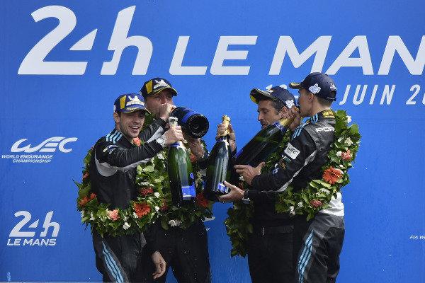 #88 Dempsey Proton Competition Porsche 911 RSR: Matteo Cairoli, Khaled Al Qubaisi, Giorgio Roda, Patrick Dempsey, podium
