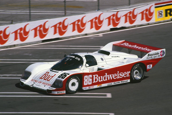 Miami, Florida, USA. 1st March 1987. RD 2. Jochen Mass / Bobby Rahal (Porsche 962), 2nd position, action.  World Copyright: Murenbeeld/LAT Photographic.  Ref: 87IMSA MIA02.