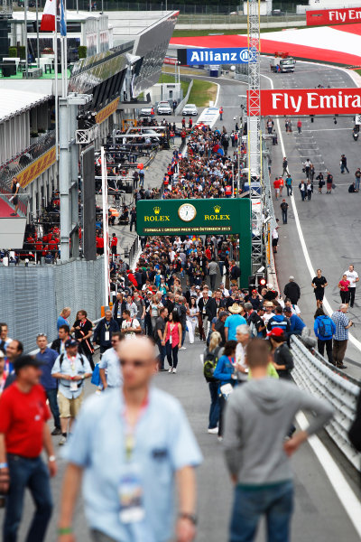 Red Bull Ring, Spielberg, Austria. Thursday 18 June 2015. Fans in the pit lane. World Copyright: Sam Bloxham/LAT Photographic. ref: Digital Image _G7C2966