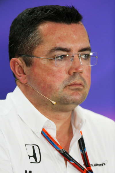 Bahrain International Circuit, Sakhir, Bahrain. Friday 17 April 2015. Eric Boullier, Racing Director, McLaren, in the Team Principals Press Conference. World Copyright: Alastair Staley/LAT Photographic. ref: Digital Image _79P4037
