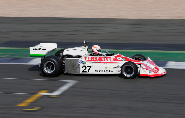 Williams 40 Event Silverstone, Northants, UK Friday 2 June 2017. A Patrick Neve March 761 is demonstrated by Martin Brundle. World Copyright: Zak Mauger/LAT Images ref: Digital Image _54I0143