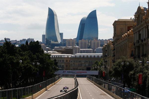Baku City Circuit, Baku, Azerbaijan. Friday 23 June 2017. Lewis Hamilton, Mercedes F1 W08 EQ Power+, leads Daniil Kvyat, Toro Roso STR12 Renault. World Copyright: Andrew Hone/LAT Images ref: Digital Image _ONY8546