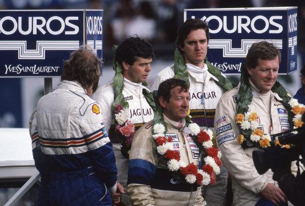 Race winners Derek Warwick (GBR) / Eddie Cheever (USA) Jaguar  and Gordon Spice (GBR) / Ray Bellm (GBR) Spice. FIA World Sports-Prototype Championship, Rd2, Kouros 1000km, Silverstone, England, 5 May 1986.