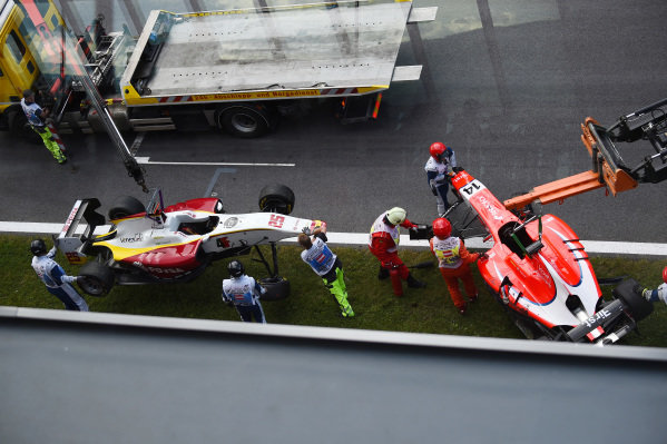 Crash car of Kevin Ceccon (ITA) Arden International being recovered at GP3 Series, Rd2, Spielberg, Austria, 19-21 June 2015.