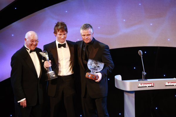 2006 Autosport AwardsGrosvenor House Hotel, London. 3rd December 2006.National Racing Driver Mike Conway with Murray Walker and Derek Warwick.World Copyright: Malcolm Griffiths/LAT Photographicref: Digital Image _MG_2227