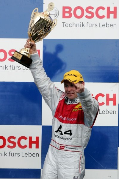 Tom Kristensen (DEN) Audi Sport Team Abt celebrates on the podium DTM, Rd 1, Hockenheim, Germany, 12-13 April 2008.