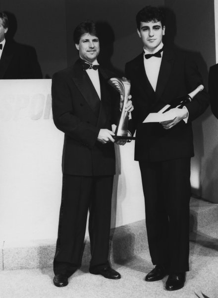 1992 Autosport Awards. Grosvenor House Hotel, Park Lane, London. 6th December 1992. Dario Franchitti wins the Autosport Young Driver of the Year award, presented by Michael Andretti, portrait.  World Copyright: LAT Photographic. Ref:  B/W Print.